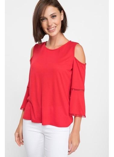 DeFacto Omuz Dekolteli Uzun Kollu T-shirt Kırmızı